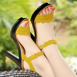 high heels big platform NZ - {d&henlu}high Heels Sandals Women Big Size41 42 43 Black Platform Sandals Women Shoes Yellow Ladies Sandalia Feminina Salto Alto Y19070403