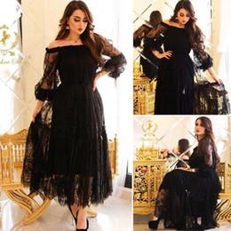 Fashion Short Black Dresses Australia - 2019 Newest Black Lace Evening dresses 2019 Arabic Formal Prom Dress Short robe Soiree Dubai Arabic Off Shoulder Long Sleeve Party Gowns