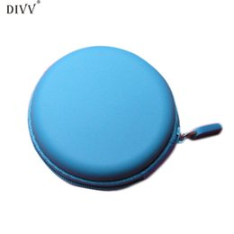 Organizer For Headphones Australia - wholesale Creative Colourful Portable Mini Round Hard Storage Case Bag for Earphone Headphone SD TF Cards Happy Gifts