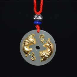 jade ship carving Australia - Drop Shipping Natural Genuine Hetian Jade Hand-carved Gold Inlay Jade Double Pixiu Pendant Lucky Blessing Necklace Pendant Beautiful Gift