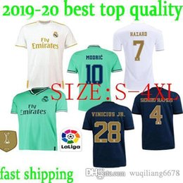 blue real madrid s soccer jersey NZ - S-4XL HAZARD Soccer Jersey Real Madrid Sports 19 20 Home MODRIC MARCELO 3rd VINICIUS JR KROOS ISCens Football Shirts ISCO BALE Short Sleeve