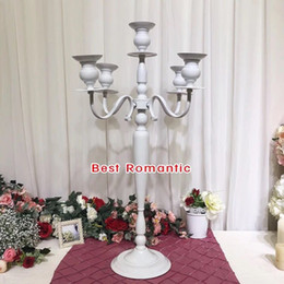 white wedding candelabras NZ - 105cm height shiny Golden plated centerpiece candelabra, unique big metal candle holder for wedding, events or party decor 5arms