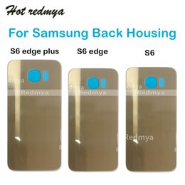 $enCountryForm.capitalKeyWord Australia - Back Housing For Samsung Galaxy S6 Edge Plus G920 G925 G928 Battery Door Cover Glass Case Replacement Parts + Adhesive Sticker