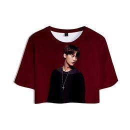 858b89f79e09 Straykids 3D Printed Women Crop Tops Kpop Fashion Summer Short Sleeve T- shirts 2019 Hot Sale Casual Trendy Girls Sexy Wear