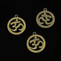 $enCountryForm.capitalKeyWord Australia - 32pcs Antique Bronze Plated Yoga OM Charms Pendants fit Making Bracelet Necklace Jewelry Findings Jewelry Diy Craft 25mm