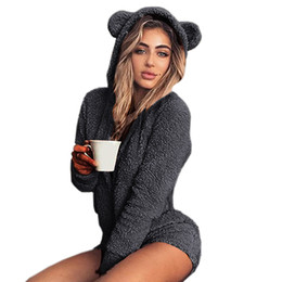 $enCountryForm.capitalKeyWord Australia - Sweet Fleece Hoody Cat Ear Body Kawaii New Jumpsuits Women Solid Lady Cute Shorts Rompers Playsuit Home Service Jumpsuits M0003 S190423