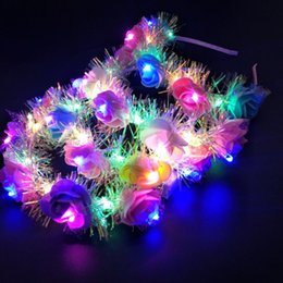 $enCountryForm.capitalKeyWord Australia - LED Light Floral Headbands Glowing Hair Band for Party Wedding favor girl decorative flowers Hair Accessories party favor T2C5052