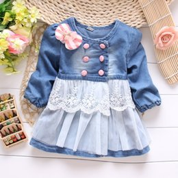 new baby girl jeans 2019 - New Spring Autumn kid's Children Baby Girls Denim Jeans Lace Bow Coat Jacket Outwear Cardigan Y1498 discount new ba