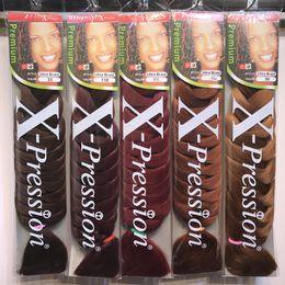 Xpression Flechthaar 82 Zoll 165g / pack synthetischen Kanekalon Haar Crochet Geflechte einfarbige Premium-Ultra-Jumbo Braid Haarverlängerungen im Angebot