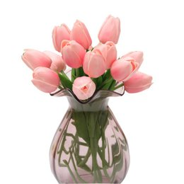 China real touch Tulips Artificial Wedding Bridal Flowers colorful single branch bulk bridesmaid wedding bouquet cheap Home decoration flowers cheap bulk artificial roses flower wedding suppliers