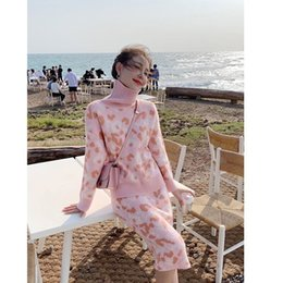 Led Paper NZ - Love2019 And Pattern Sweet Cute Pink Colour Leopard Print Keep Warm High Lead Sweater Half-body Skirt Two Paper Suit Can Generation Hair