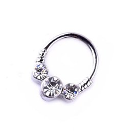 Nose Piercing Women UK - Rhinestone Popular Medical Nose Ring Ladies Female Body Clip Hoop For Women Septum Piercing Clip Jewelry Gift