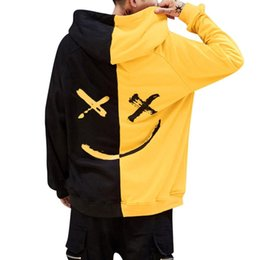 Wholesale teens hoodies online – oversize 2019 New Fashion Men s Autumn And Winter Teen Smile Fashion Hoodie Print Smiley Jacket Casual Pullover Jacket