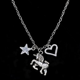 Gothic Christmas Gift NZ - Vintage Silver Unicorn Horse Pendant Necklace Gothic Pentagram Star Love Heart Choker Chain Necklace Christmas Jewelry Friendship Gift