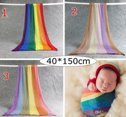 $enCountryForm.capitalKeyWord UK - INS Newborn Rainbow Baby Receiving Blankets Infant Cotton Yarn Elastic Blankets Photography props 40*150cm 3colors choose free ship