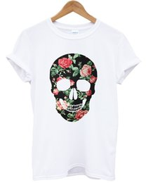 $enCountryForm.capitalKeyWord UK - FLORAL SKULL COLOURED T SHIRT PRINT TUMBLR INDIE HIPSTER ROSE WOMEN TOP MEN GIRL Funny free shipping Unisex Casual