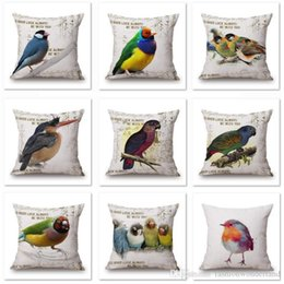 cushion cover black bird UK - Parrot Birds Sofa Cushion Covers Thin Linen Cotton Pillow Cases Candy Color Feather 45X45cm Pillow Covers Bedroom Sofa Decoration