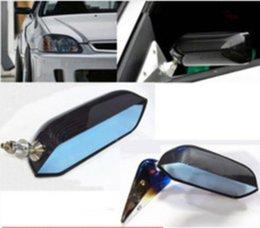 A fibra nova do carbono da tração do carro de competência F1 olha o espelho de rearview lateral do ABS com superfície azul do espelho venda por atacado