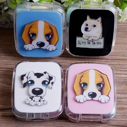 kit boxes Australia - Imixlot DIY Acrylic Cute Cartoon Dog Contact Lens Case with Mirror Men Women Contact Lens Box Glasses Container Travel Kit