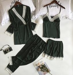 889f9199ce Dark Green Lady Home Wear Pajamas 4PC Strap Top Pants Suit Sleepwear Sets  Womens Nightgown Sexy Kimono Robe Bath Gown Nightdress