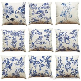 Pillows Blue Chinese Print Australia - Chinese Style Blue and White Pattern Linen Cushion Cover Home Office Sofa Square Pillow Case Decorative Cushion Covers Pillowcases (18*18)