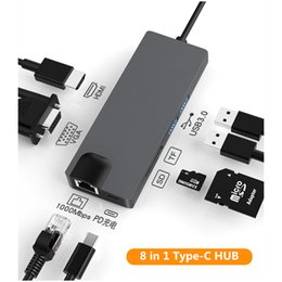 hdmi otg Australia - 8 In 1 Type C to 2 USB3.0 SD TF Card Reader LAN VGA HDMI USB C Adapter HUB Extend PD Charger Dock 1000Mbps RJ45 OTG Display for Macbook PC