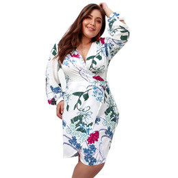fb08297d49b New 2019 Spring Autumn Long Sleeve Dress Sexy V Neck A Line Plus Size Dress  for Fat Women Lady Fashion Printing Casual Dress