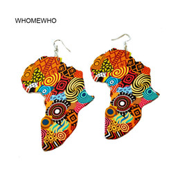 Vintage tribal jewelry online shopping - Tribal Wood Africa Map DIY Colorful Painting Afro Vintage Earrings Round Wooden Boho African Bohemia Ear Jewelry Party Accessory