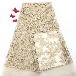 Wholesale white fabric for wedding dress lace for sale - Group buy 2019 High Quality African Lace Fabric Elastic White French Net Embroidery Tulle Lace Fabric For Nigerian Wedding Party Dress