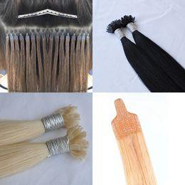 % 100 insan saçı 1 g / şerit 200 g / çok nano saç uzatma tangle düz ucu serbest ağızlık serbest Brezilya Düz Nano Saç Uzantıları ucu