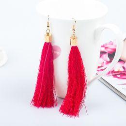 $enCountryForm.capitalKeyWord Australia - 10 Colors Tassel Earrings For Women Fashion Bohemian Tassel Long Earrings Black White Red Green Silk Fabric
