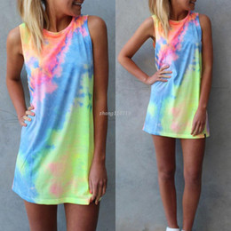 tie dye printing Australia - Summer Women Tie-dye Print Rainbow Tank Dress Beach Clubwear Shirt Shift Mini Dresses Casual Sleeveless Sundress Blusas Tops