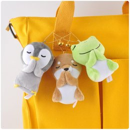 chicken statue UK - Blessing frog penguin backpack plush pendant toy doll clamshell doll plush keychain 8-9cm w13 wj04