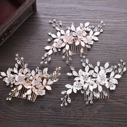 $enCountryForm.capitalKeyWord Australia - Handmade Metal Leaf Flower Wedding Hair Comb Rose Gold Hair Vine Bridesmaid Head Piece Crystal Bride Hair Accessories Combs