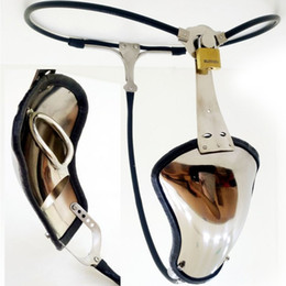 Discount full male chastity belt - Latest Invisible Male T Style Full Adjustable Stainless Steel Chastity Belt Device With Cock Cage Penis Tube Adult Bonda