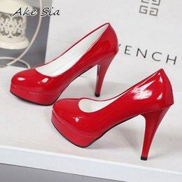 dc6d470d85851f 10cm hochhackige Schuhe wasserdichte Plattform sexy fein mit runden Kopf  Füße koreanischen Frauen Schuhe Lackleder Größe S071