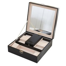 white leather storage boxes UK - Simple Solid Wood Creative Cosmetic Box Earrings Necklace Bracelet Jewelry PU Leather Storage Box (Black)