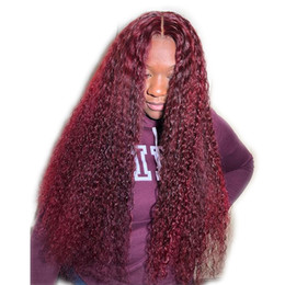 $enCountryForm.capitalKeyWord Australia - Burgundy Lace Front Wig With Baby Hair 99J Curly Brazilian Remy Full Lace Human Hair Wig