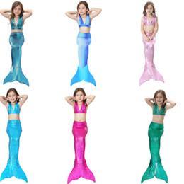 champagne swim wear NZ - costumes swimming 3Pcs Girl's Sexy Bikini Mermaid Tails Swimming Costume for Kid Cosplay Fancy Swimmable Wear Costumes