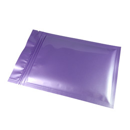 wholesale glossy gift bags Canada - 100pcs lot High Quality Thick Glossy Purple Reclosable Aluminum Foil Mylar Zip Lock Flat Gift Storage Bags