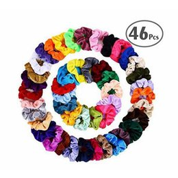 elastic plastic hairbands NZ - Free DHL 46 Colors Women Velvet Elastic Hair Scrunchie Scrunchy Head Band Ponytail Hairbands Girls Hair Rope Hair Accessories Wholesale
