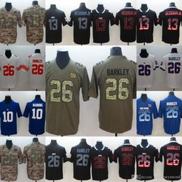 Football Giants Australia - Mens 10 Eli Manning 26 Saquon Barkley 13 Odell Beckham Jr Giants White Blue Green Camo Black Red Football Jersey Fast Shipping