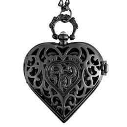 Tema de relógio de bolso em forma de coração cheio de caçador de quartzo gravado fob pingente retro relógio de bolso cadeia presente venda por atacado