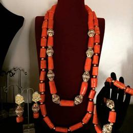 Big Sets Beads Australia - Dudo Jewelry Necklace and Earrings Set Big Coral Beads Nigerian Weddings Jewelry Set Women Jewellery Free Shipping 2019 New