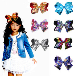 $enCountryForm.capitalKeyWord Australia - 8 Inch Mermaid Scale Hair Bows JOJO Bow Baby Girls Big Large Rainbow Colorful Design Children Hair Clips Fashion Hair Accessories for Kids