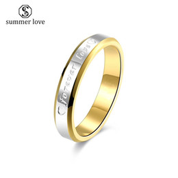 18k wedding ring forever love Canada - High Quality Tatinum Steel Wedding ring for Women Men Forever Love Simple Style Finger Ring Fashion Jewelry Wholesale 2019
