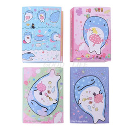 leaf note pad UK - Cute Happy Whale 6 Folding Memo Pad Sticky Note Memo Notepad Bookmark Stationery