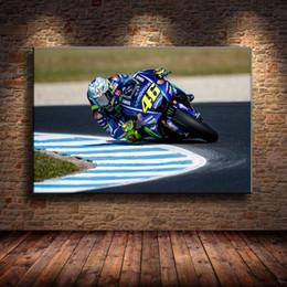 (Senza cornice / incorniciato) Concorso di motociclismo, 1 pezzo Stampe su tela Pittura a olio di arte della parete Home Decor 24X36. in Offerta