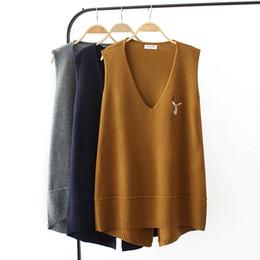 $enCountryForm.capitalKeyWord Australia - Plus size spring vest sleeveless sweaters 2018 dark blue gray Khaki Embroidered knitted V neck wool female top wear Pullovers