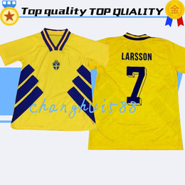 bbe5d423076 1994 Sweden retro soccer jerseys home 1995 LARSSON ANDERSSON Mild home  yellow world cup 94 95 football shirts top thailand quality customize
